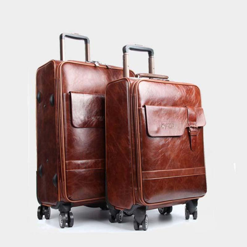 Rolling Luggage Spinner Men Business Trolley Password Suitcase Wheels 20 inch Carry On Travel Bag PU Leather Trunk