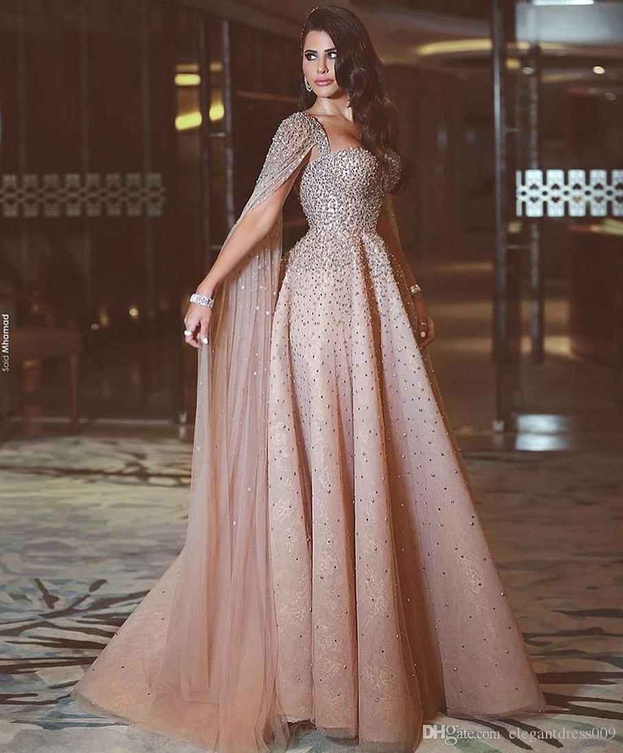 Luxus Erröten Rosa eine Linie Abendkleider Spaghettiträger wulstige Crystals Blumenapplikationen Wateau Zug Strass formale Abend-Partei-Kleider