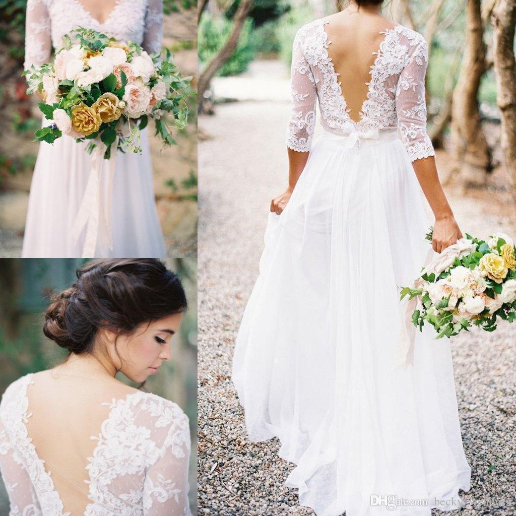 Discount Elegant Chiffon Boho Beach Wedding Dresses Vestidos A Line ...