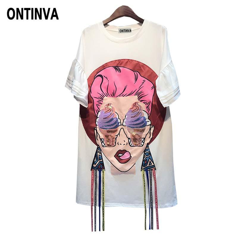 875f2fd4b75 Oversized Cartoon Graphic Tees Sequin Tshirts Long Tunic Tops For Women  Casual Summer 2018 Camisetas Mujer Vogue Korean Clothes Buy Funny T Shirts  Shirts ...