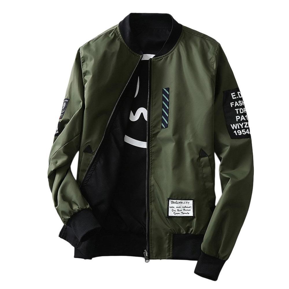 0d92bb3c25475 Satın Al Yeni 2017 Bombacı Ceketler Erkek Sonbahar Kış Moda Palto Ordu Yeşil  / Siyah Ince Slim Fit Erkekler Rüzgar Kesici Artı Boyutu Ceket M 4L, ...