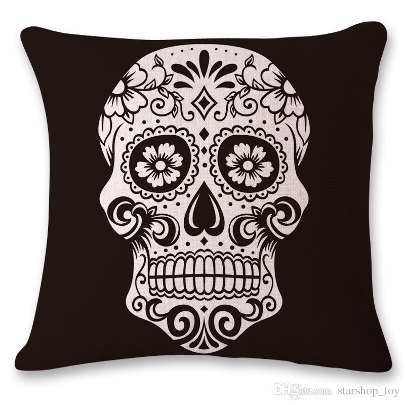 45*45cm Punk Skull Cotton Linen Throw Case Sofa Cushion Pillow Case Home Decor Nap Pillow Cover Seat 9 Designs TY7-185