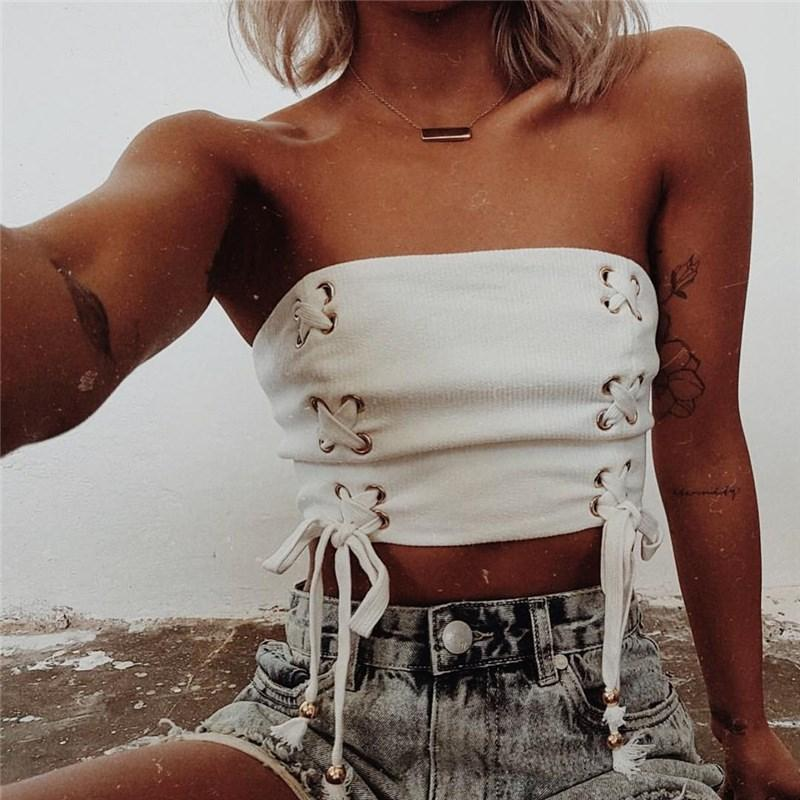 06484493357 2019 Lace Up 2018 Summer Crop Top Tube Female Bow Tie Strapless Sexy White  Fitness Vest Shortened Tops Cropped Camisole Sale From Dayup
