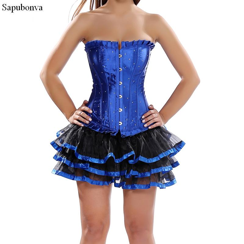 9bdf48fa68985d Vestidos de espartilho vitoriano gótico traje cosplay strass mini saia tutu  espartilho partido senhoras espartilhos e bustiers azul Plus