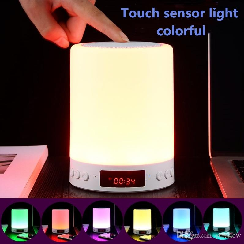 S66 + Altoparlante Bluetooth portatile Luce notturna Wireless Stereo Touch Sound LED Tempo di visualizzazione della lampada Sveglia Supporto vivavoce TF Card AUX