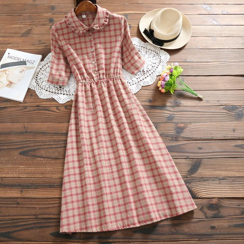 56c847ba31597 Mori Girl Summer Dress 2018 New Fashion Women Short Sleeve Plaid Vintage  Dresses Female Cotton Long Vestidos M-XXL Clothing