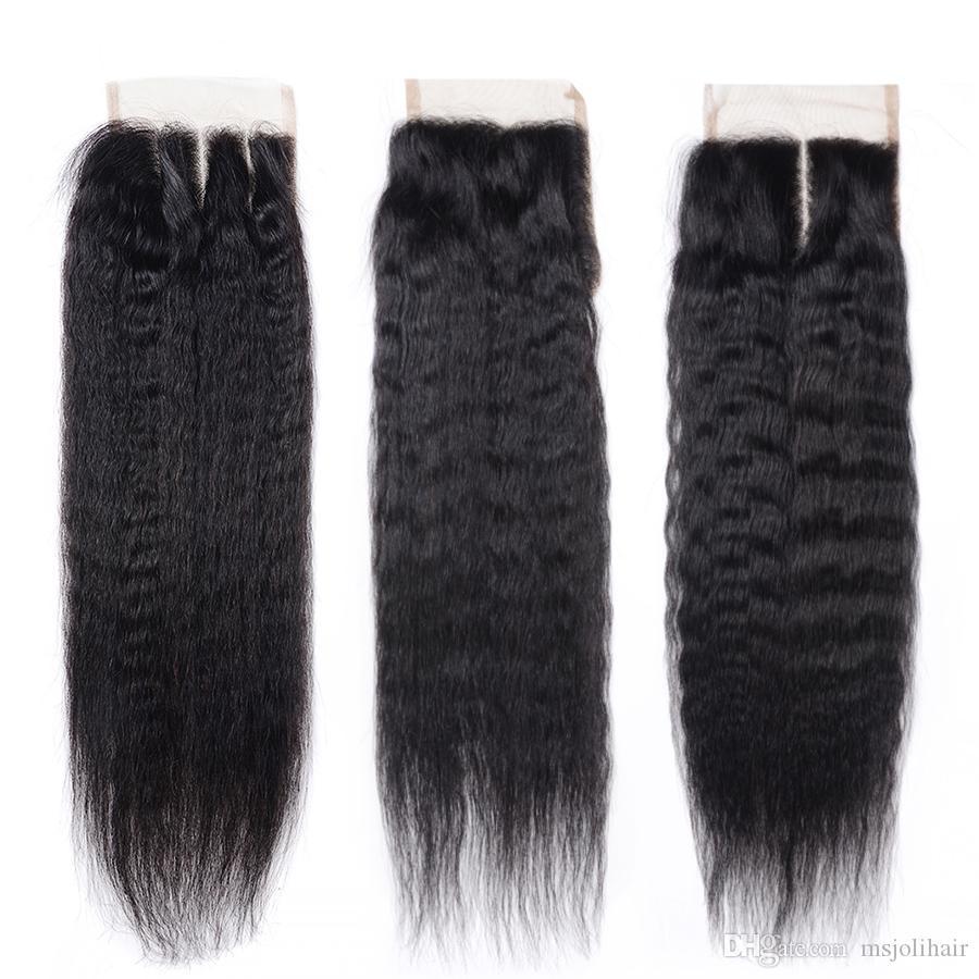 Brésilienne Vierge Cheveux Humains Fermetures De Corps Vague Lâche Vague Vague Profonde Droite Droite Kinky Droite Naturelle Noir 4x4 Dentelle Fermetures Ms Joli