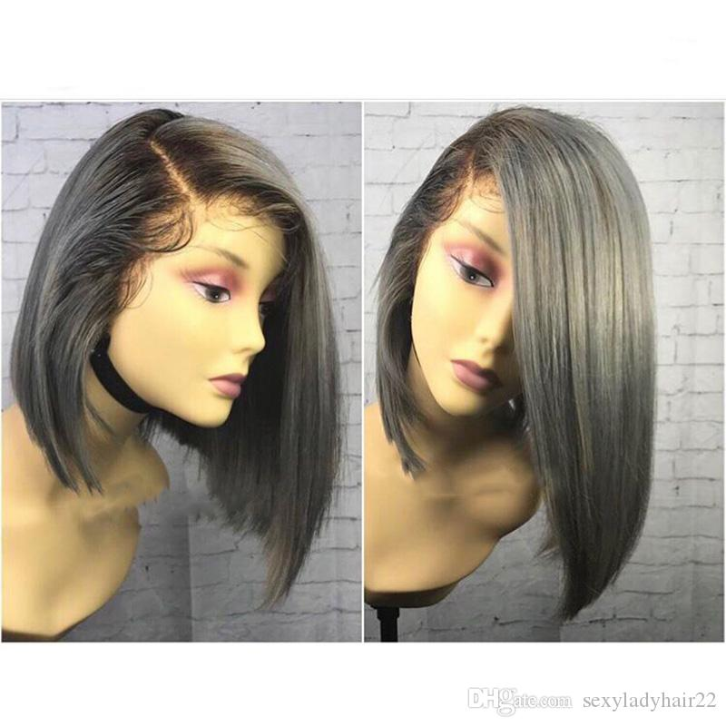 Ombre Black To Silver Grey Wig side part Bob Wig Synthetic Lace Front Wig Heat Resistant Hair Short Wigs For Women