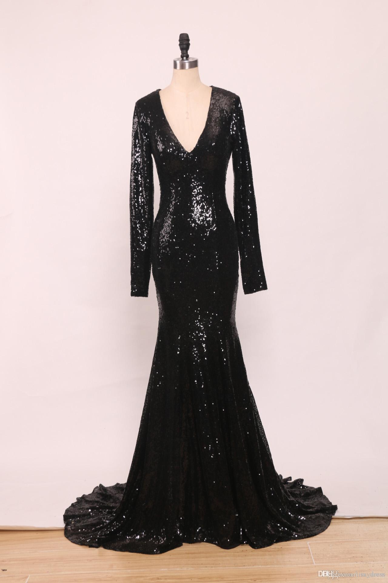 89eb565130 Sexy Black Sequins Mermaid Evening Dresses Trumpet Deep V Neck Long Sleeve  Prom Gowns Court Train Formal Party Dress 2016 Lace Formal Dresses Lace Long  ...