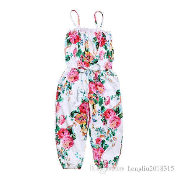 4d5f73e5c898 2019 Wholesale Toddler Infant Baby Clothes Kids Girls Floral Print ...