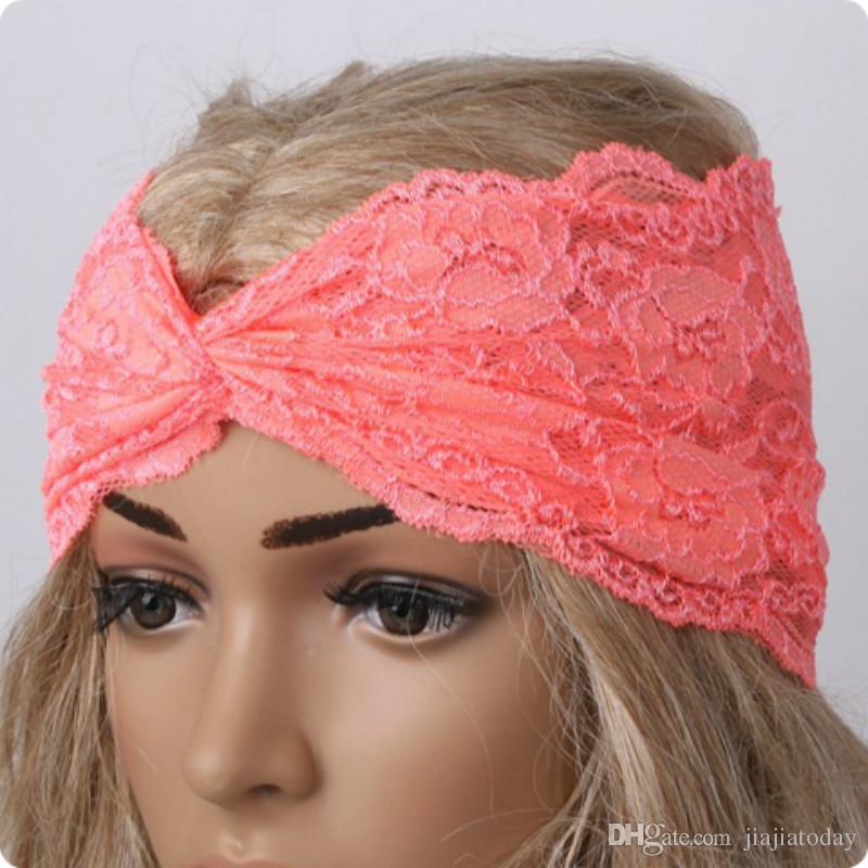 Chegada nova Moda Boho Mulheres Menina Bandanas Rendas Cruz Praia Headband Do Cabelo Banda Chique Ampla Headwraps