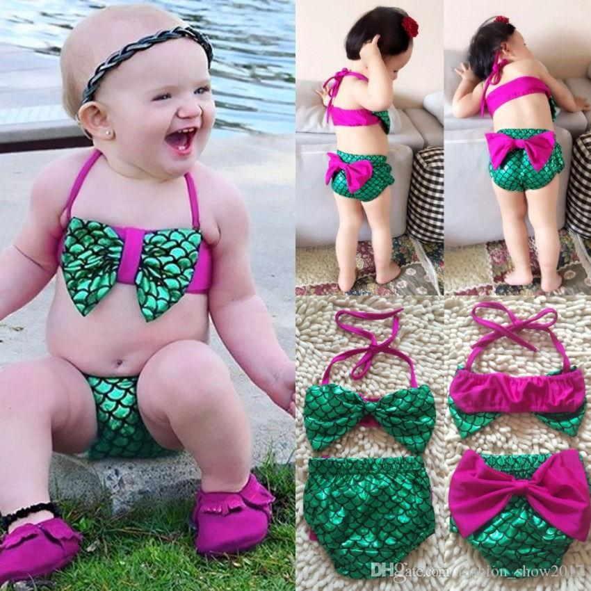 64a1744fdda96 2019 Toddler Kids Baby Girl Mermaid Swimsuit Tankini Bikini Set Bow ...