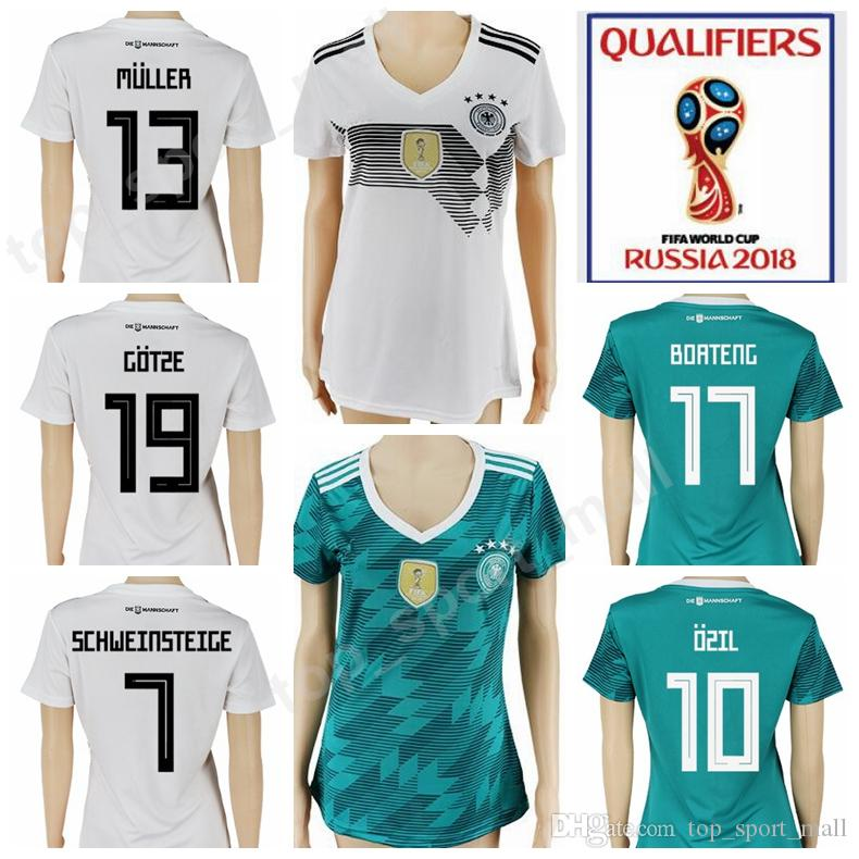 547c61307 Germany Women Jersey 2018 World Cup Soccer 11 Miroslav Klose 13 Gerd Muller  Woman Football Shirt Kits Lady Home Green Away White Podolski UK 2019 From  ...