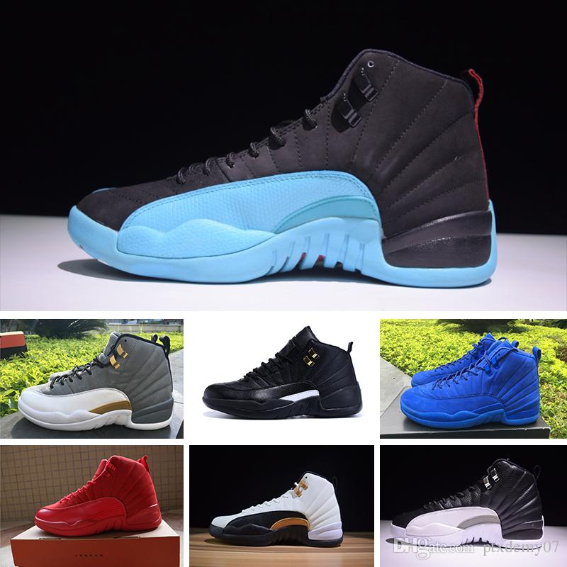 new products 18a70 b85f5 Acheter 2019 Nike Air Jordan 12 Retro Designer Shoes Ir Pas Cher 12 Laine X  Chaussures De Basketball High Cut De Haute Qualité Sneakers J12 Noir Blanc  ...