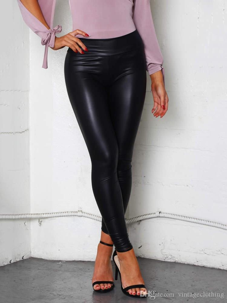 Women Black Sexy Leggings Leather Slim Fit Leggings High Elasticity Club Style Pants Leather Boots Leggings
