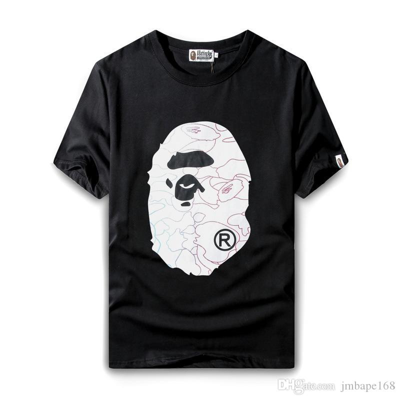 leisure sports half sleeve Hip-hop Cartoon printing T - shirt Circular collar Large code Short sleeve Black and white color Jacket