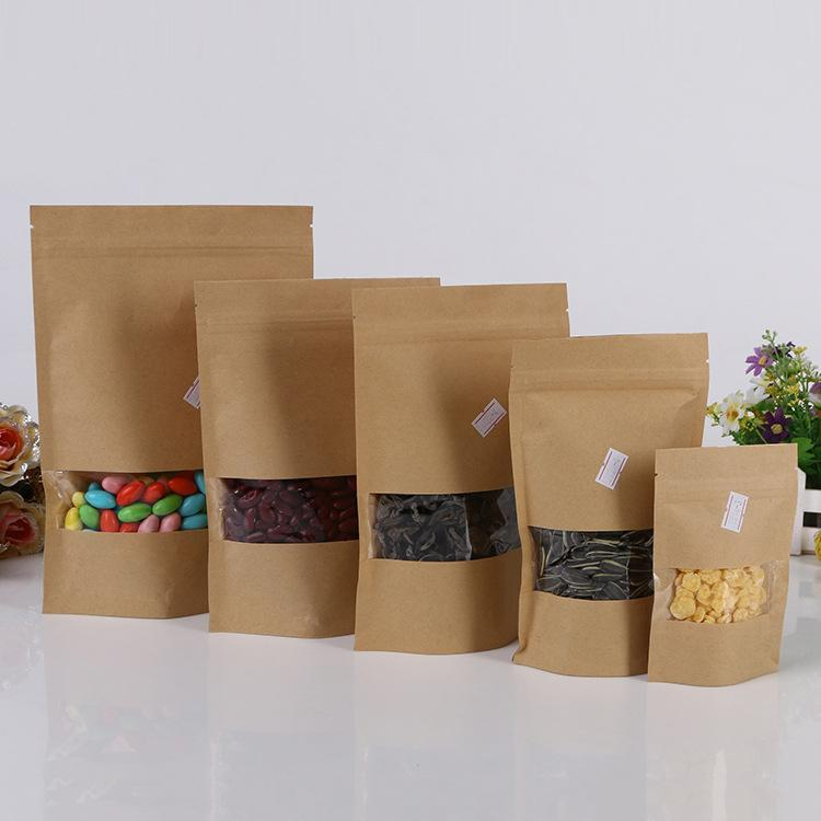 Brown kraft paper bag with window stand up Zipper/zip lock Jewelry packaging bag paper bags for gifts/tea/christmas