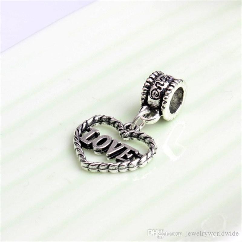 Love Letter Heart Shape Dangle Pendant Alloy Charm Bead Fashion Women Jewelry Stunning European Style For Pandora Bracelet Necklace