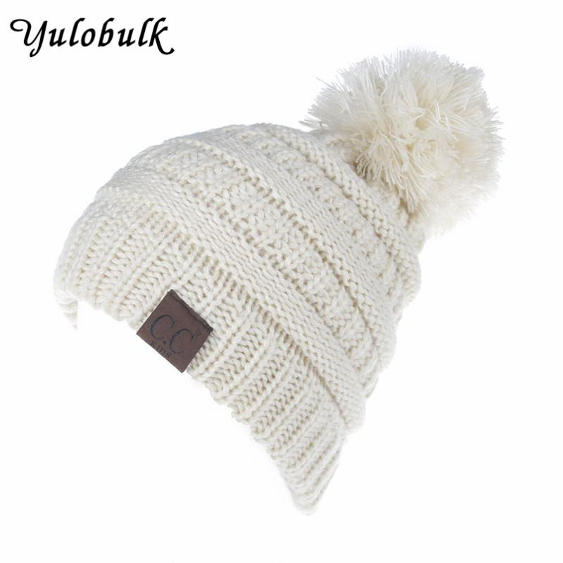 a14fa2f2b5f32 2019 2 6 Years Baby Boys Girls Knied Pom Pom Hat Children CC Beanies Kids  Winter Cap Kawaii Toddler Hats Pompom Beanie From Pekoe