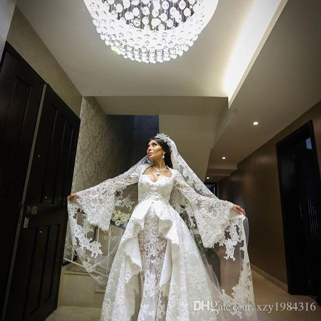 Sexy Öffnen Schatz-Hochzeits-Kleid mit Overskirt Perlen SpitzeAppliques lange Hülse Dubai Brautkleid Glamorous Tulle-Nixe-Hochzeit Dresse