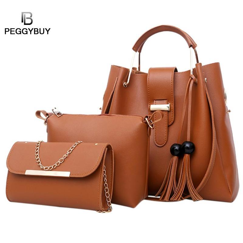 d7968ec63b84 PU Women Tote Tassels Crossbody Shoulder Bucket Elegant Handbags Composite  Messenger Bag Purse Sac Casual Tote Bag Hobo Handbags Red Handbags From  Tinypari