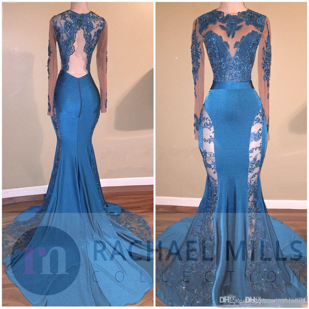 2018 New Mermaid Prom Dresses Long Sleeve Lace Applique Illusion ...