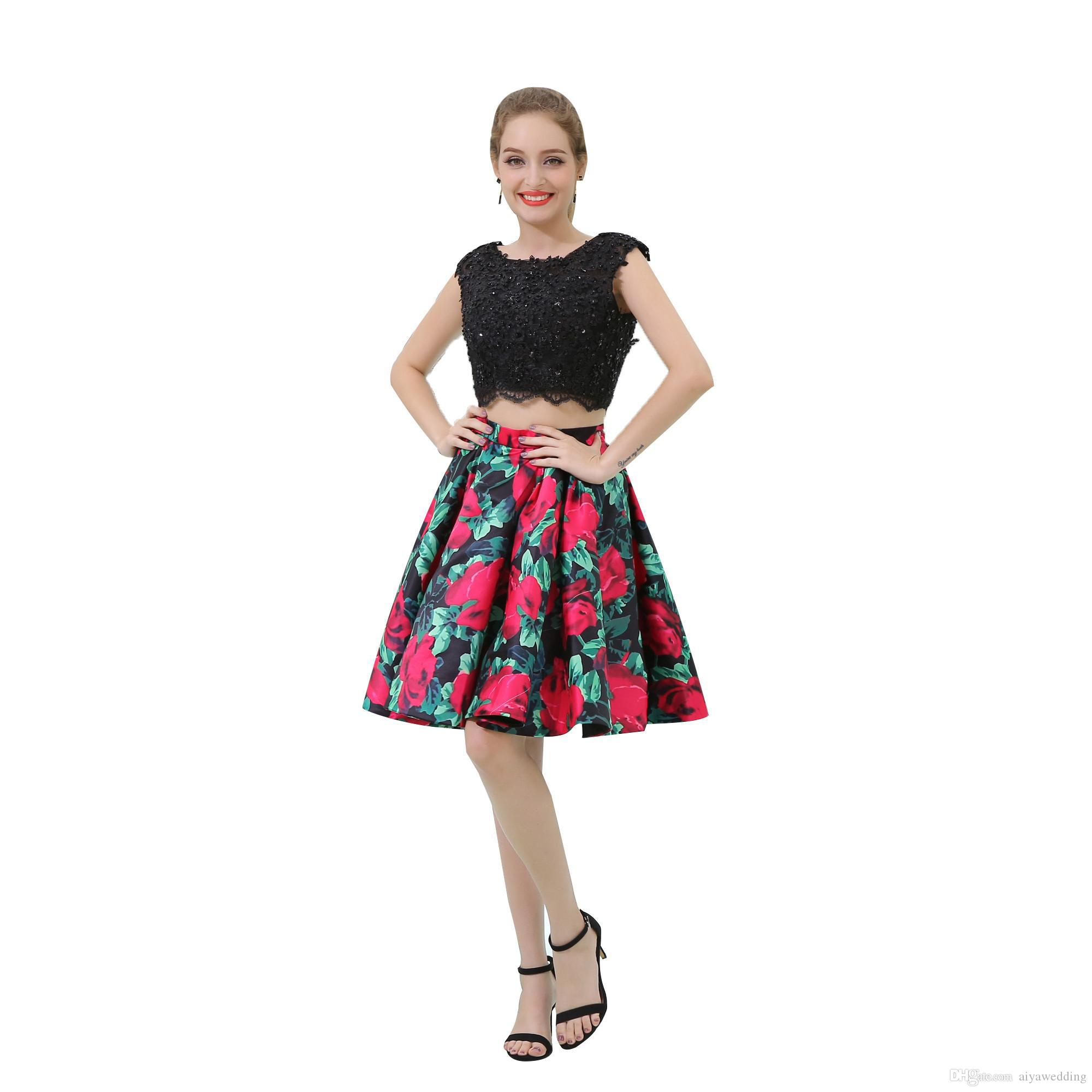 2020 Two Pieces Prom Dresses Jewel Sheer Neck With Lace Beaded Homecoming Dresses Printed Flower Short Evening Party Gowns