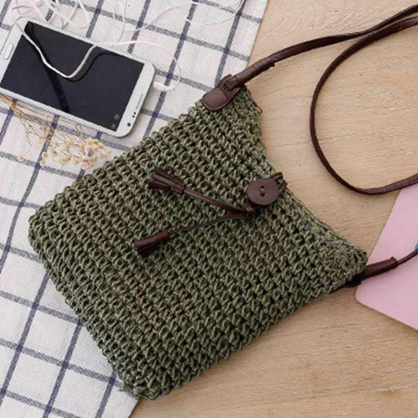 College Style Simple And Generous Crochet Messenger Bag Straw