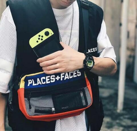 Brand New Places + Faces 3M Reflective Skateboards Bolsa P + F Message Bags Casual Hombres y Mujeres Hip-hop Shoulder Bag Mini Paquetes de teléfono móvil