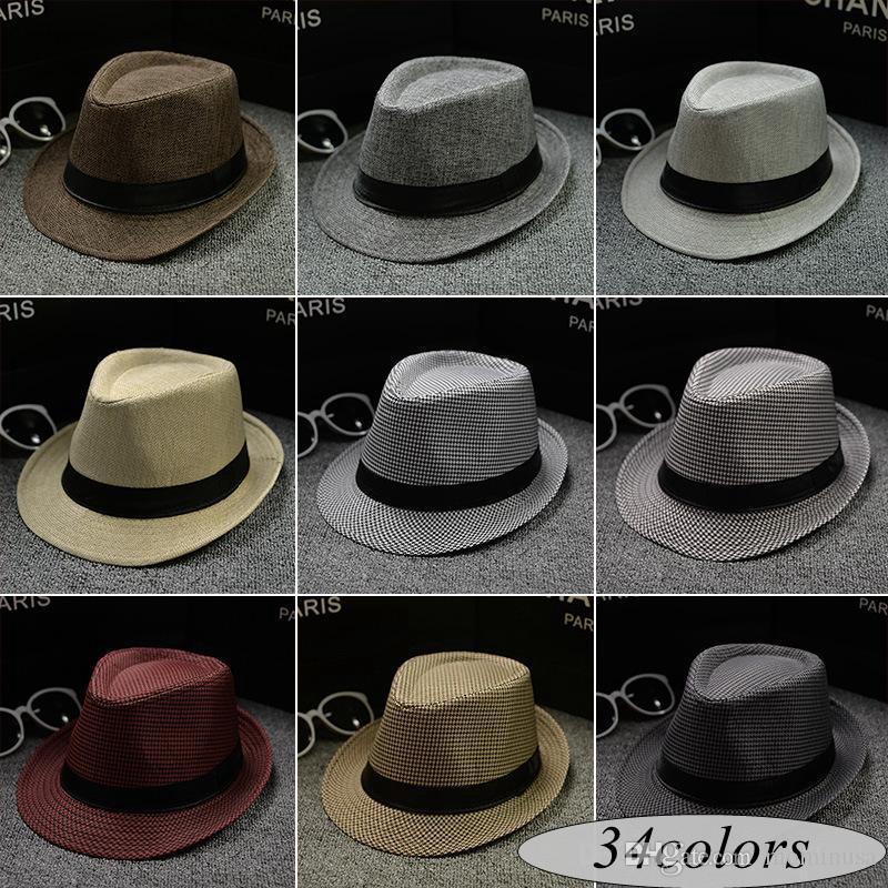 9892fea8d0d1 Nueva Vogue Hombres Mujeres Algodón / Lino Sombreros de paja Soft Fedora  Panamá Sombreros Al aire libre Stingy Brim Caps más de 34 colores Elija ...