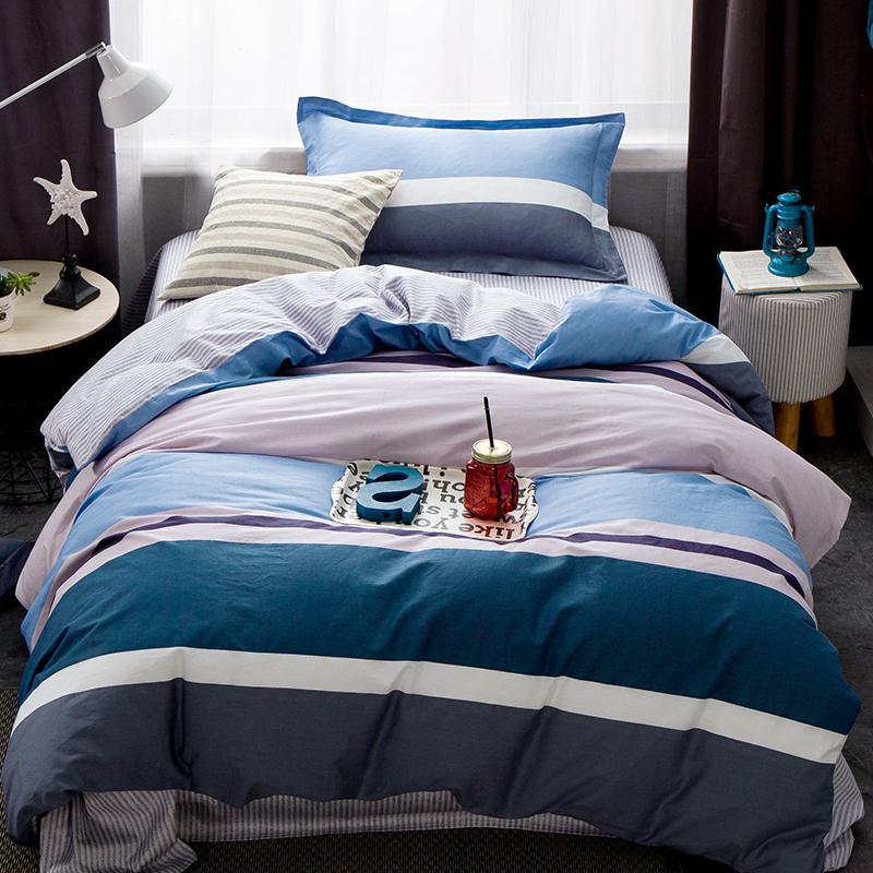 Entertainment Memorabilia 2018 Blue Stripes Bed Covers 3pc Bedding Set Twin Size Children Students Kids Bedlinens Cotton Linen Sheet Pillowcase Rock & Pop