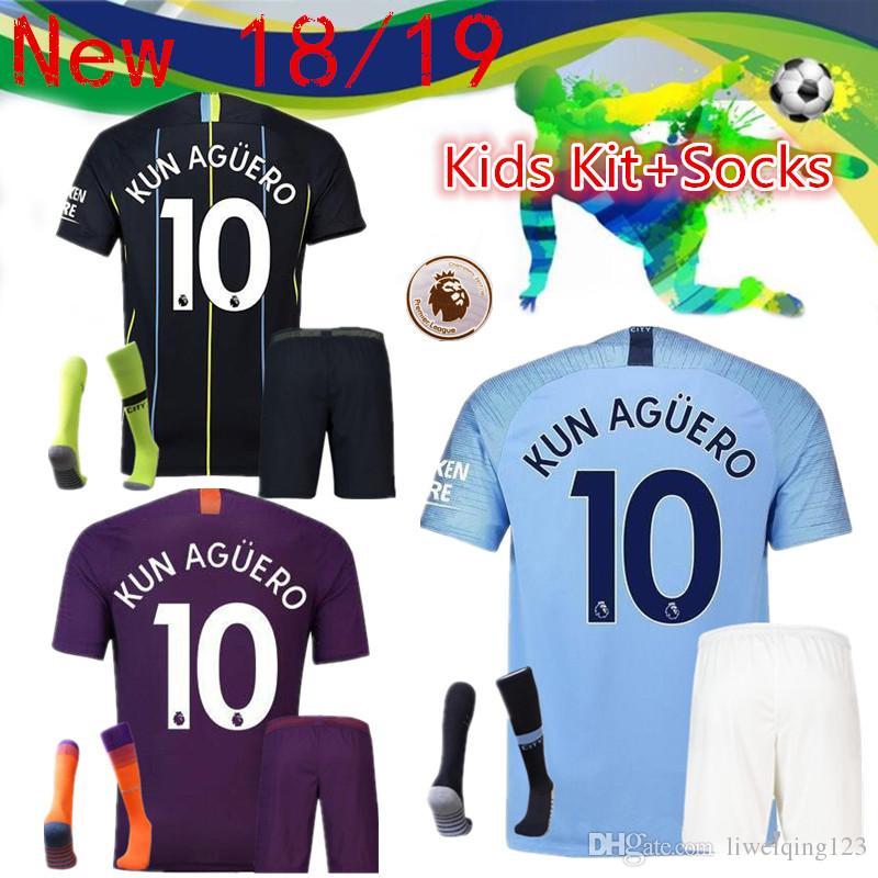 d6b1fbbec Top Quality 18/19 Manchester City Football Children's Suit+Socks De ...