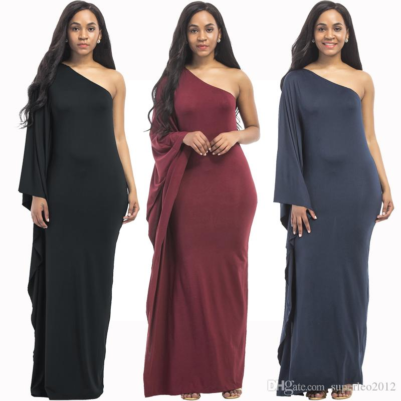 ed1ab9ce8364 Women S One Shoulder Dress Vintage Solid Off Shoulder Long Dress Casual  Loose Maxi Dress Floor Leng One Long Sleeve XKT6009 Black Cocktail Party  Dress Long ...