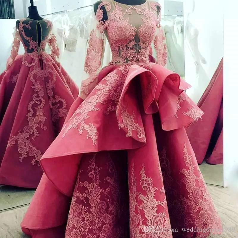 Glamorous Lace Red Saudi Arabia Dubai Wedding Dresses Illusion Peplum Long Sleeve Bride Country Style Plus Size Vestido de novia Bridal Gown
