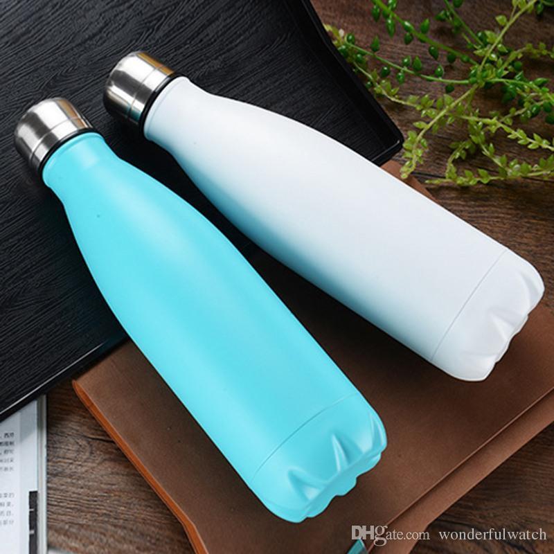 60 unids 17 oz 500 ml Cola en forma de botella de doble pared de vacío de alta luminancia Botella de agua Botella termo creativa Coke Cup 2018 H68