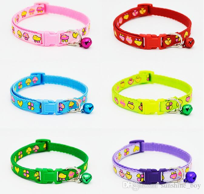 2018 High Quality Safety Nylon Dog Puppy Cat Collar Breakaway Adjustable Cats Collars with charm Bell and Mushroom width 1.0cm
