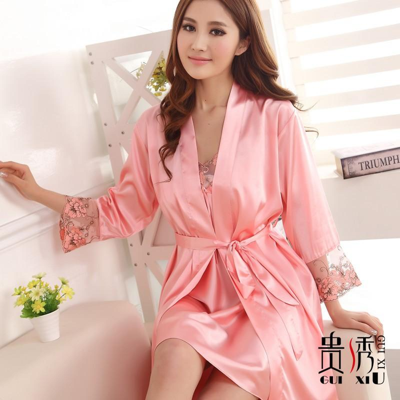 Back To Search Resultsunderwear & Sleepwears Robe For Women Home Robe Sexy Bathrobe Dressing Gowns Embroidery Sleep Lingerie Night Bathrobes Sleepwear Women's Sleepwears
