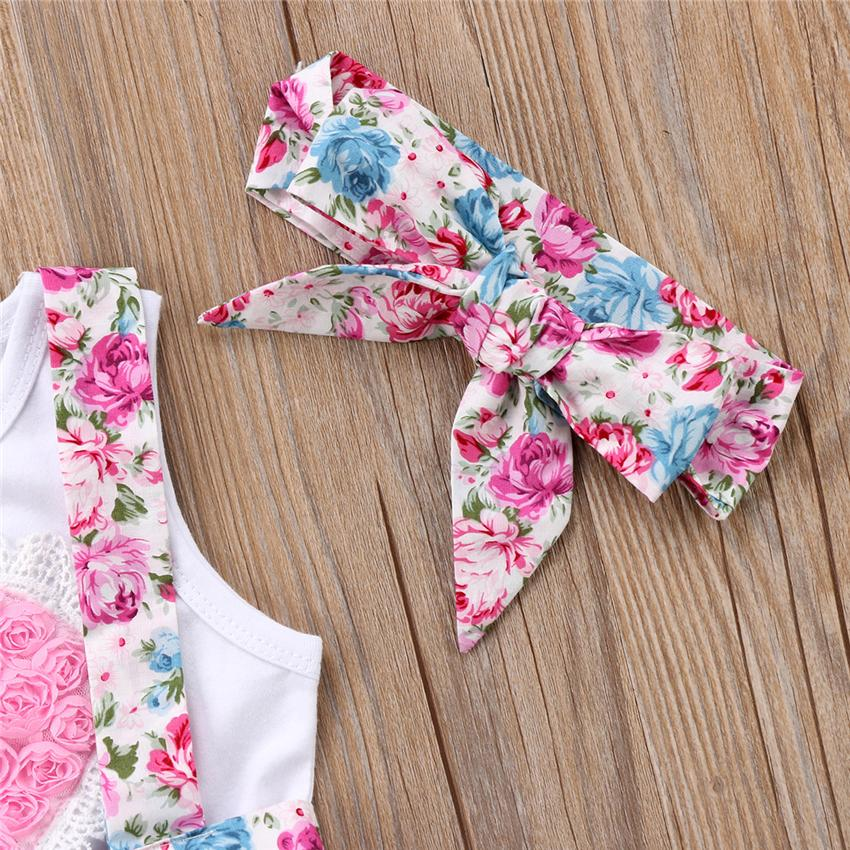 Floral Kids Baby Girls Overalls Dress Outfits Clothes T-shirt Vest Skirts Hairband Set Pink Heart Family Matching Clothing Toddler