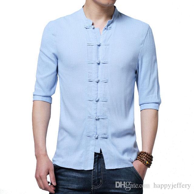 2e5e72055d7 2019 Men Linen Shirts Half Sleeve Chinese Style Mandarin Collar Traditional  Kung Fu Tang Casual Social 4XL Shirt Brand Clothing JS08 From Happyjeffery