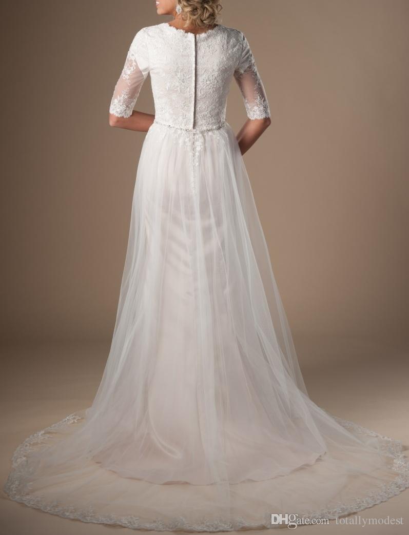 Vestidos de novia modestos de champán marfil con medias mangas Cinturón de cuentas Tul de encaje Vestidos de novia LDS con mangas Vestido de boda religioso por encargo