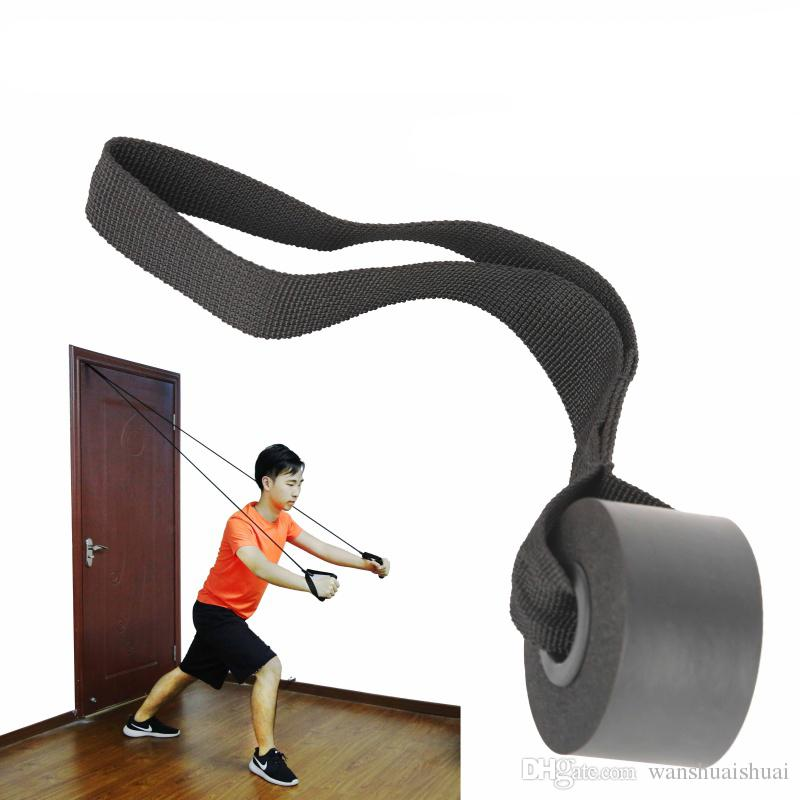 Home gym exercise resistance bands foam stopper over door