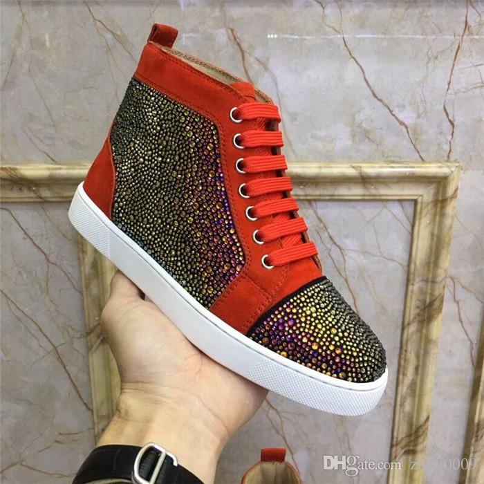 18 Mens Spikes shoes for men and women puple white gold Rhinestone Luxury Brand High Top Spring/Autumn Flats Sneakers