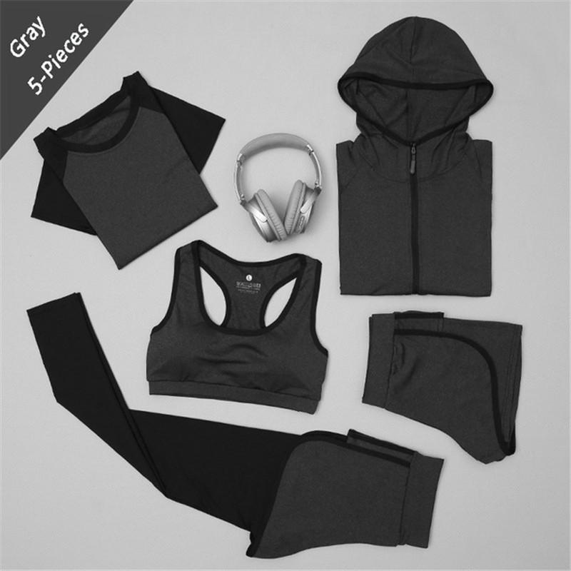 583d3636915e3 2019 XC LOHAS LadiesTracksuits For Women Yoga Set Workout Gym Clothes Sports  Bra+Zipper Hooded Jacket+Leggings+Shorts+Sports Tshirt From Fwuyun