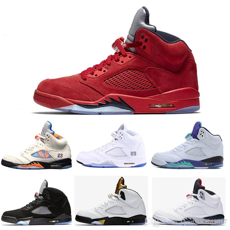 82c1b4320620 Retro Air Jordan 5 5s Nike AJ5 Nuevo 5 5s OG Black Metallic 3M Reflect  Grape Oreo Zapatillas De Baloncesto Hombre 5s Red Blue Suede International  White ...
