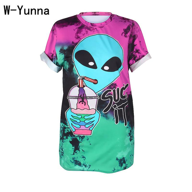 af7d4159 W Yunna T Shirts Women Summer 2018 Alien Drink Digital Printing Short  Sleeved Workout Tshirts Sexy Street Style Tops For Women T Shirts Designs  Online T ...