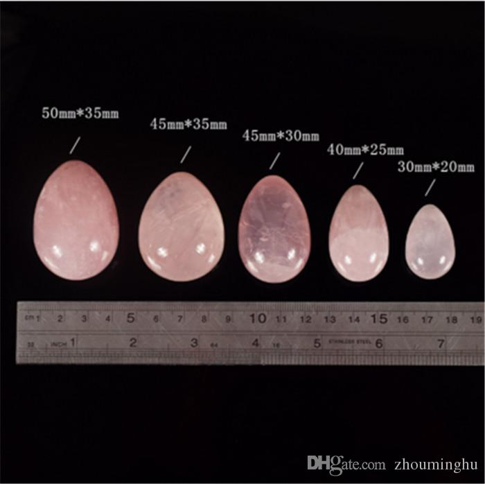 cryRose Quartz Crystal Eggs With Rope Yoni Eggs Massage tool Pelvic Kegel Exercise Vaginal Tightening Ball for Health Care Tool