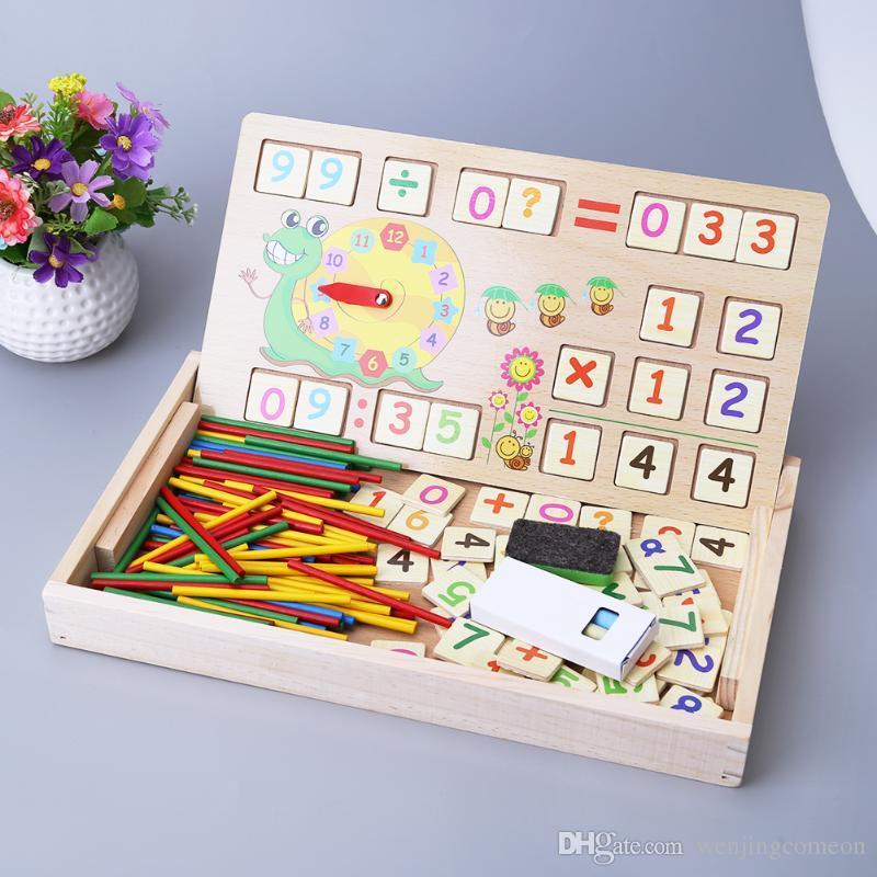 Matemática de madeira brinquedos do bebê educacional relógio cognição brinquedo matemática com giz preto crianças brinquedos educativos de madeira