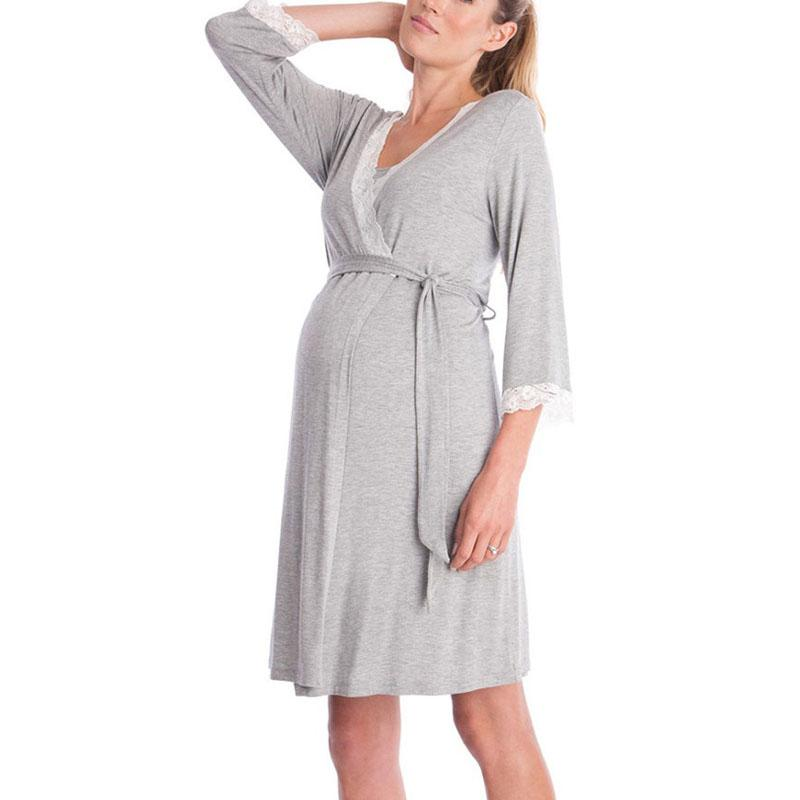1d6cbada Vestido de maternidad de lactancia Ropa de enfermería para mujeres  embarazadas Pijamas Ropa de dormir Embarazo Vestidos de alimentación Ropa  de ...