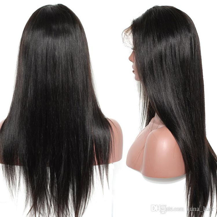 Glueless best virgin human hair natural color silky straight long full lace top wig for sale