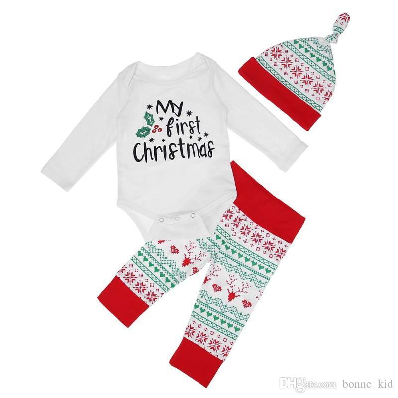 sports shoes 199b7 77474 2018 meine erste Weihnachten Baby Mädchen Outfit Strampler Hosen Hut  3-teiliges Set geometrische Rentier Säugling neugeborenes Baby Weihnachten  ...